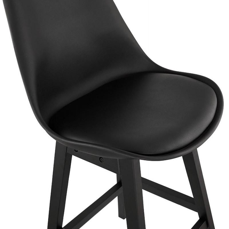 Tabouret de bar chaise de bar mi-hauteur design pieds noirs DYLAN MINI (noir) - image 46320