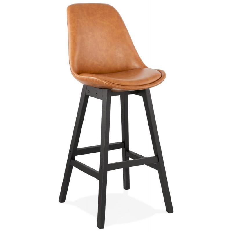 Tabouret de bar design chaise de bar pieds noirs DAIVY (marron clair) - image 46325