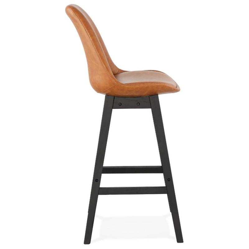 Tabouret de bar design chaise de bar pieds noirs DAIVY (marron clair) - image 46327