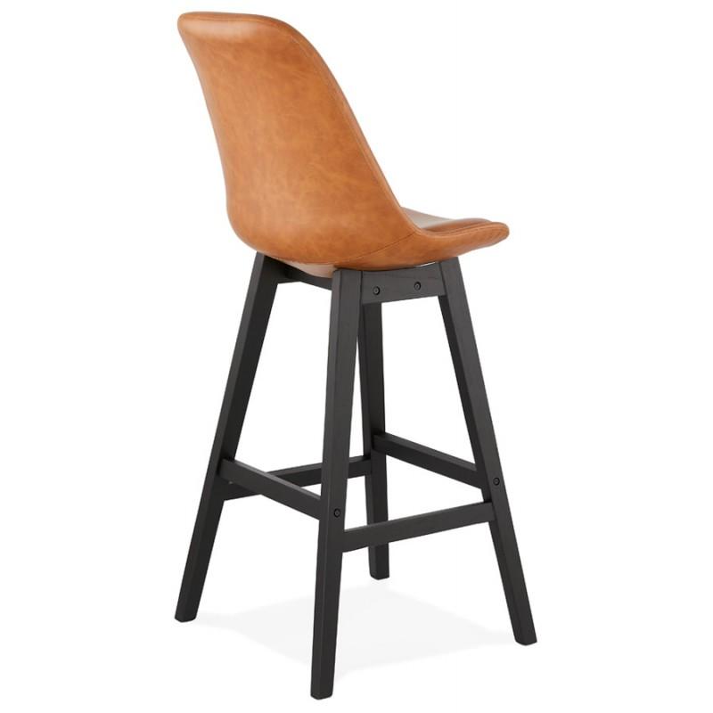Tabouret de bar design chaise de bar pieds noirs DAIVY (marron clair) - image 46328