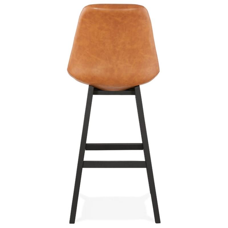 Tabouret de bar design chaise de bar pieds noirs DAIVY (marron clair) - image 46329