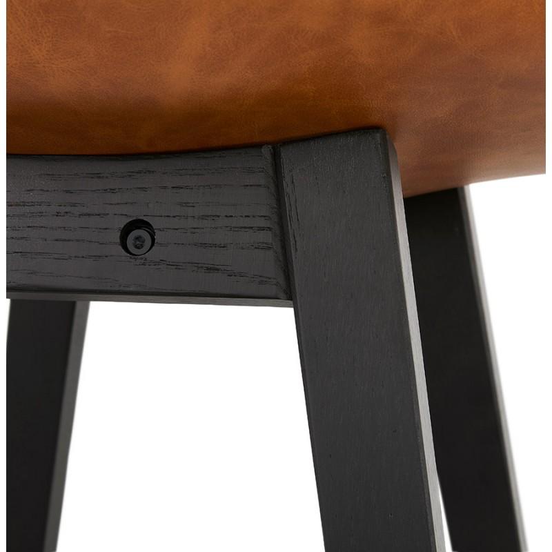 Tabouret de bar design chaise de bar pieds noirs DAIVY (marron clair) - image 46332