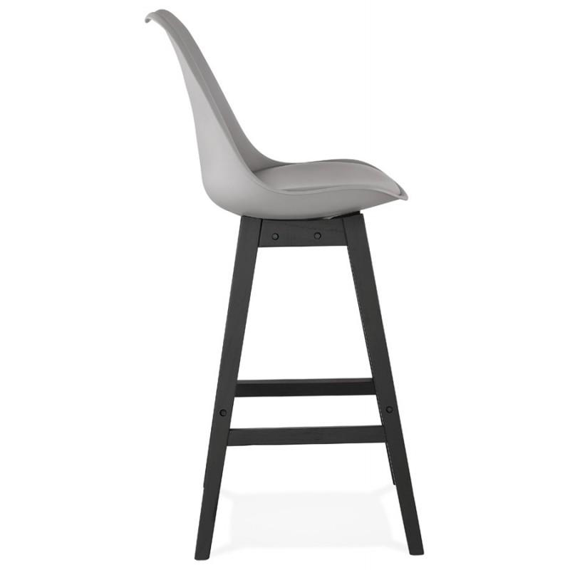 Tabouret de bar chaise de bar pieds noirs DYLAN (gris clair) - image 46346