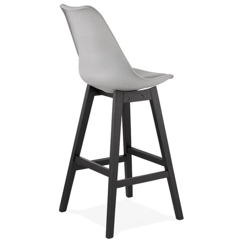 Tabouret de bar chaise de bar pieds noirs DYLAN (gris clair) - image 46347