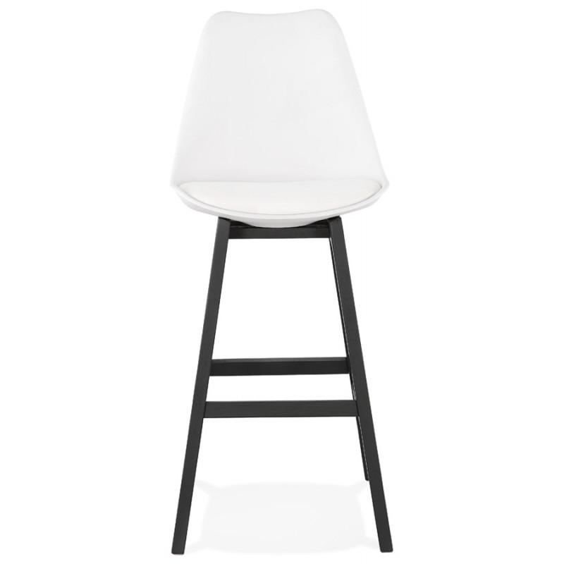 Tabouret de bar chaise de bar pieds noirs DYLAN (blanc) - image 46354