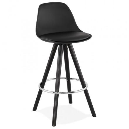 Tabouret de bar mi-hauteur design pieds noirs OCTAVE MINI (noir)