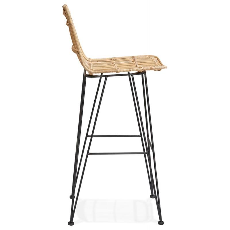 Tabouret de bar chaise de bar en rotin pieds noirs PRETTY (naturel) - image 46407