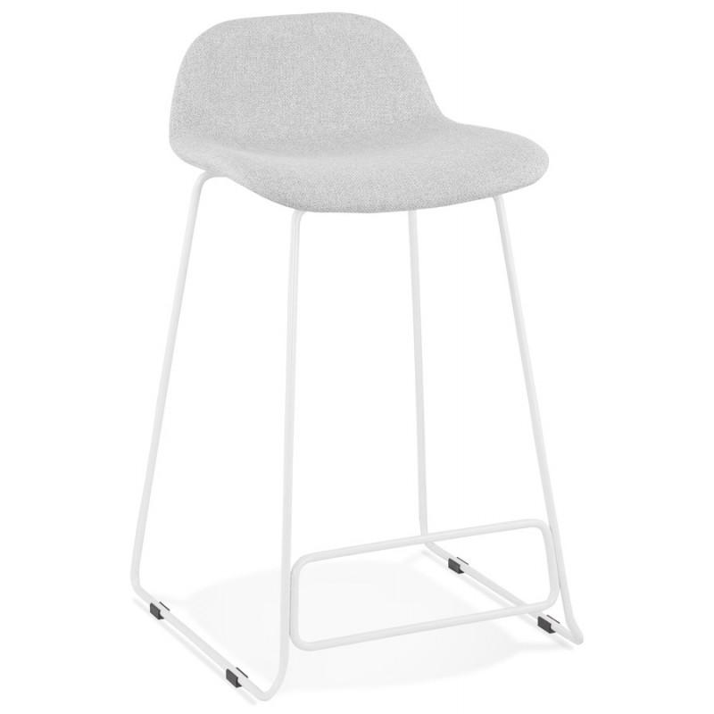 Tabouret de bar mi-hauteur en tissu pieds métal blanc CUTIE MINI (gris clair) - image 46415