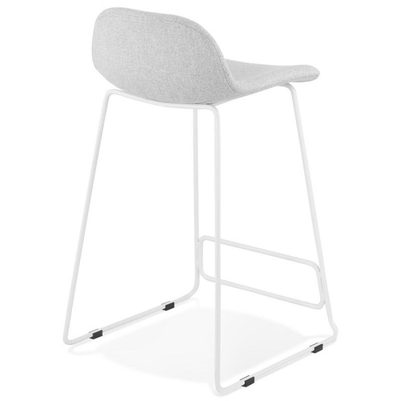 Tabouret de bar mi-hauteur en tissu pieds métal blanc CUTIE MINI (gris clair) - image 46418
