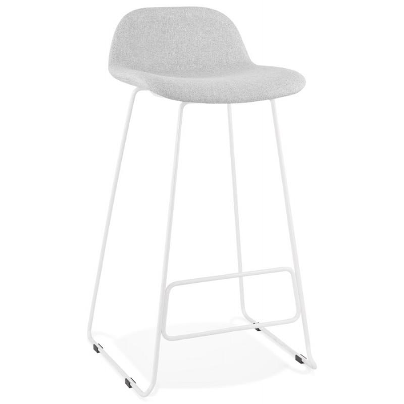 Tabouret de bar chaise de bar en tissu pieds métal blanc CUTIE (gris clair)