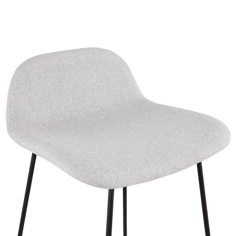 Tabouret de bar chaise de bar industriel en tissu pieds métal noir CUTIE (gris clair) - image 46452