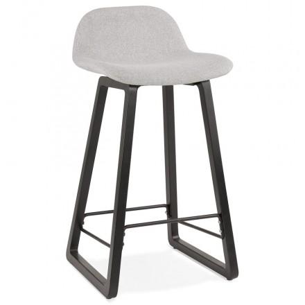 Industriale a media altezza bar pad in tessuto nero piedi in legno MELODY MINI (grigio chiaro)
