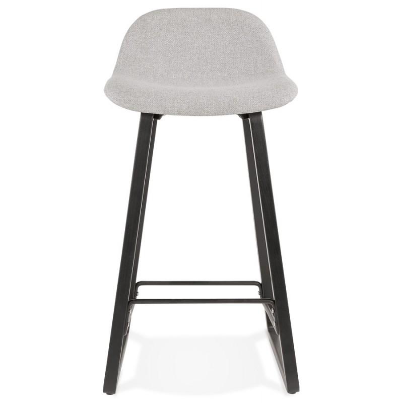 Tabouret de bar mi-hauteur industriel en tissu pieds bois noir MELODY MINI (gris clair) - image 46460
