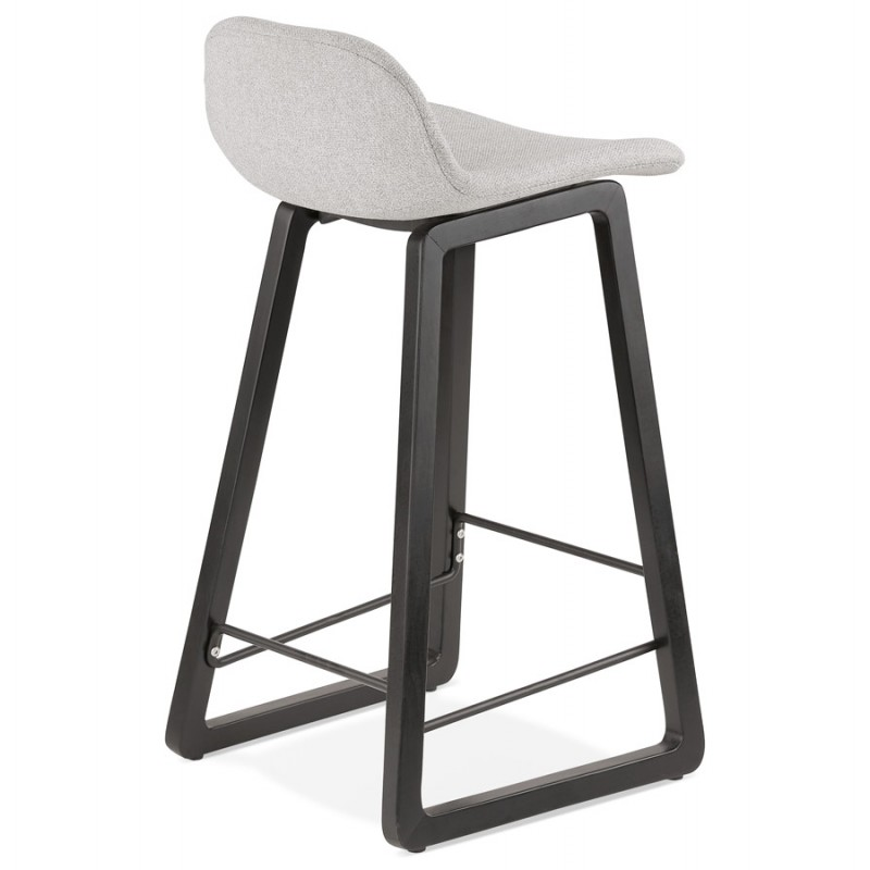 Tabouret de bar mi-hauteur industriel en tissu pieds bois noir MELODY MINI (gris clair) - image 46462
