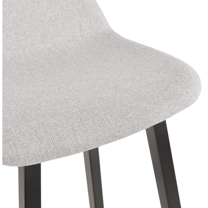 Tabouret de bar mi-hauteur industriel en tissu pieds bois noir MELODY MINI (gris clair) - image 46465