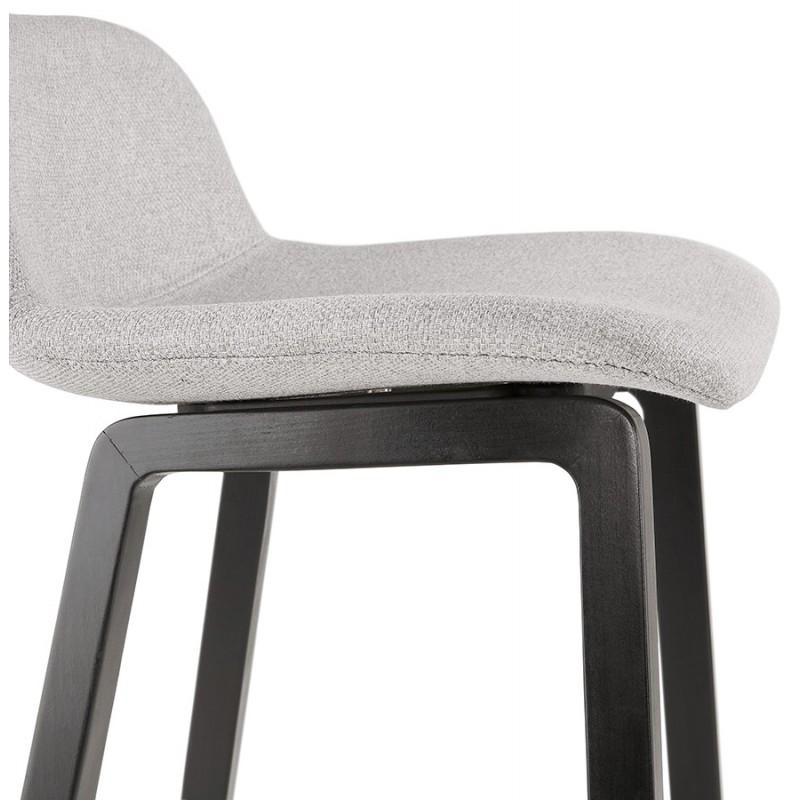 Tabouret de bar mi-hauteur industriel en tissu pieds bois noir MELODY MINI (gris clair) - image 46466