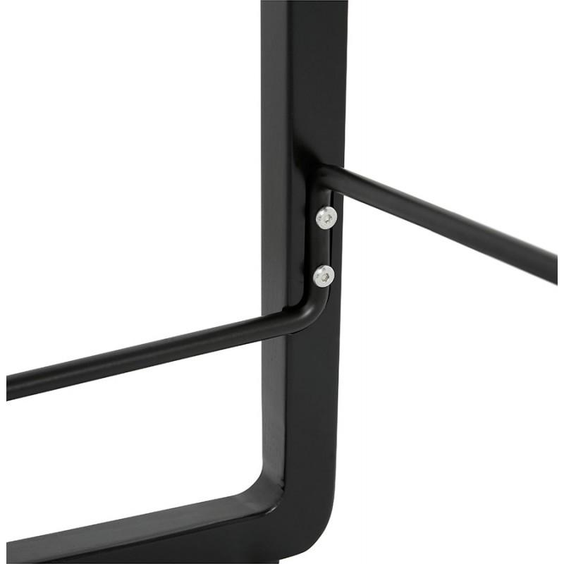 Tabouret de bar mi-hauteur industriel en tissu pieds bois noir MELODY MINI (gris clair) - image 46468