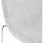 Tabouret de bar mi-hauteur scandinave empilable en tissu pieds métal chromé LOKUMA MINI (gris clair)
