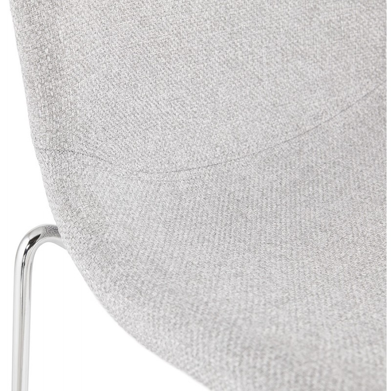 Tabouret de bar mi-hauteur scandinave empilable en tissu pieds métal chromé LOKUMA MINI (gris clair) - image 46491