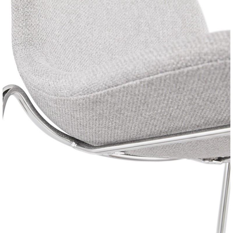 Tabouret de bar mi-hauteur scandinave empilable en tissu pieds métal chromé LOKUMA MINI (gris clair) - image 46492