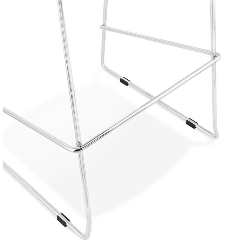 Tabouret de bar mi-hauteur scandinave empilable en tissu pieds métal chromé LOKUMA MINI (gris clair) - image 46495