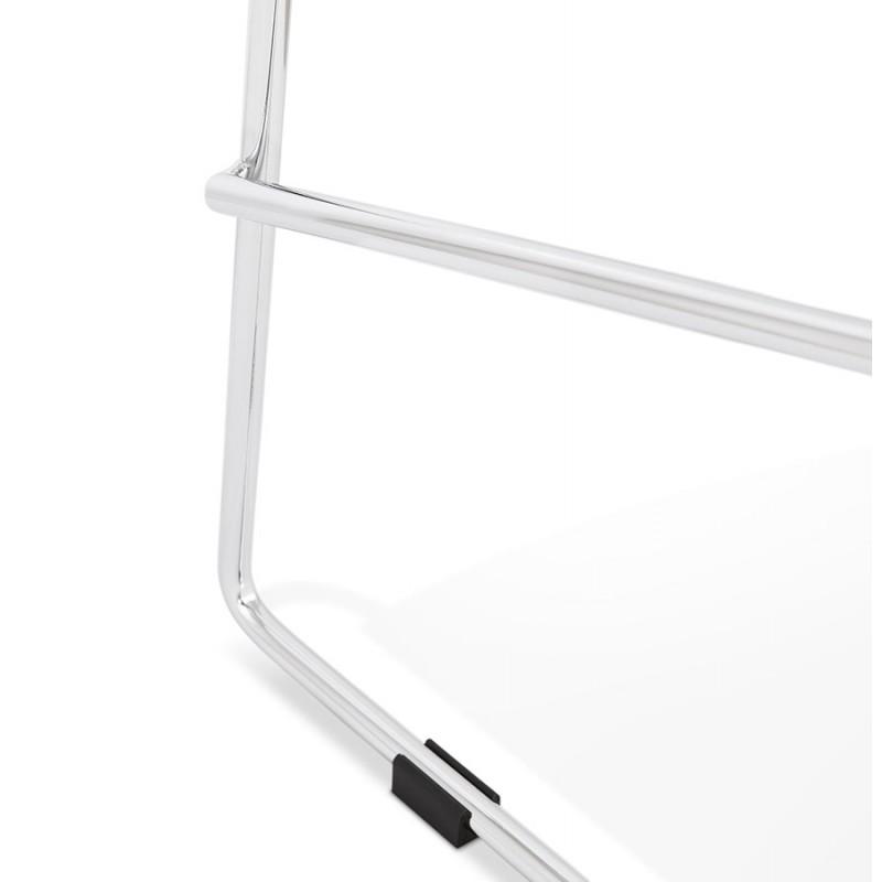 Tabouret de bar mi-hauteur scandinave empilable en tissu pieds métal chromé LOKUMA MINI (gris clair) - image 46497