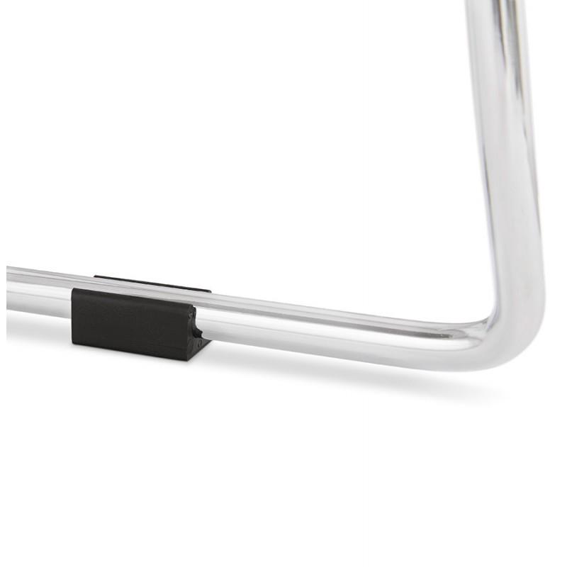 Tabouret de bar mi-hauteur scandinave empilable en tissu pieds métal chromé LOKUMA MINI (gris clair) - image 46498