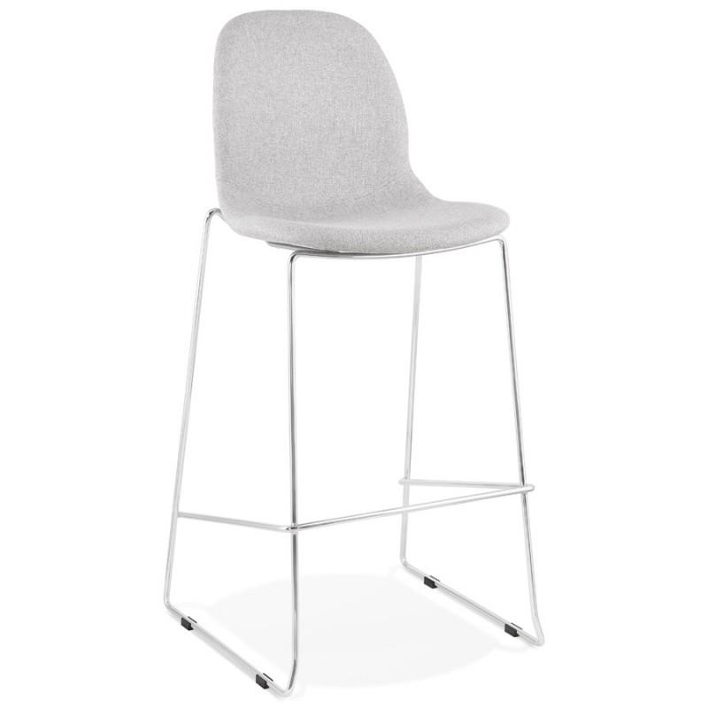 Tabouret de bar chaise de bar scandinave empilable en tissu pieds métal chromé LOKUMA (gris clair)