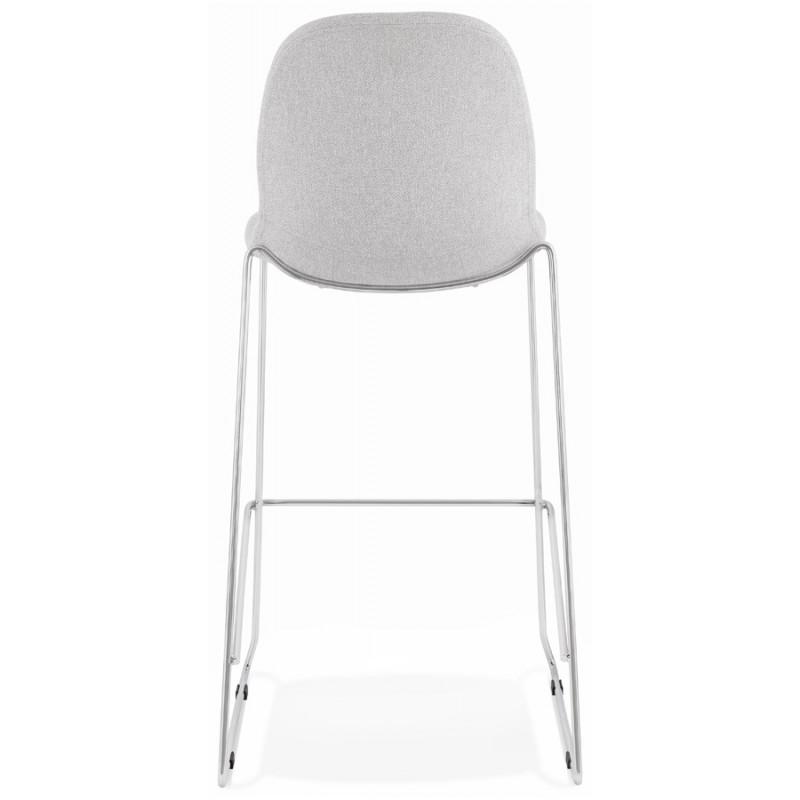 Tabouret de bar chaise de bar scandinave empilable en tissu pieds métal chromé LOKUMA (gris clair) - image 46503