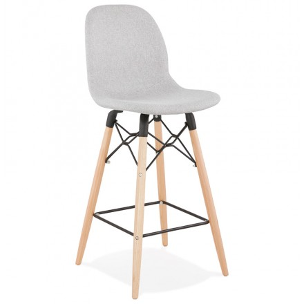 Tabouret de bar chaise de bar mi-hauteur scandinave en tissu PAOLO MINI (gris clair)
