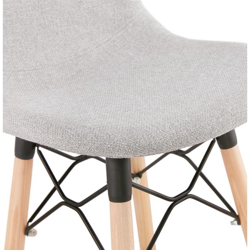 Tabouret de bar design scandinave en tissu PAOLO (gris clair) - image 46520