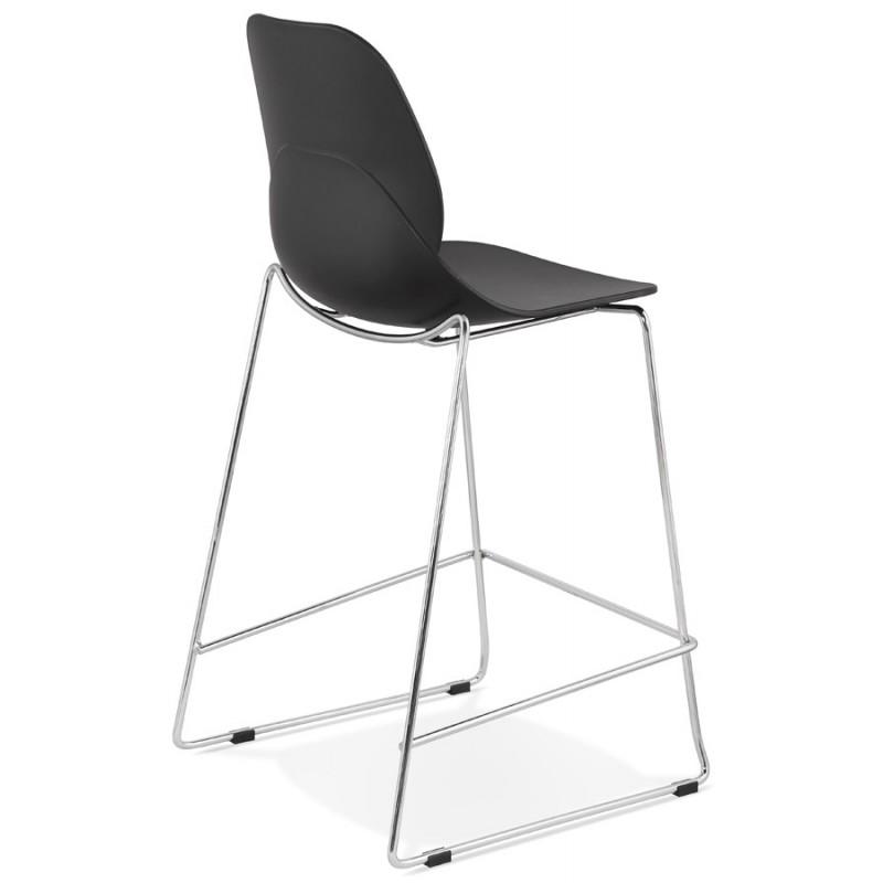 Tabouret de bar chaise de bar mi-hauteur design empilable JULIETTE MINI (noir) - image 46565