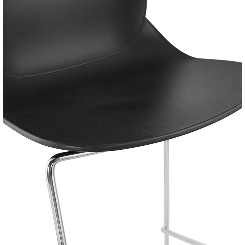 Tabouret de bar chaise de bar mi-hauteur design empilable JULIETTE MINI (noir) - image 46569