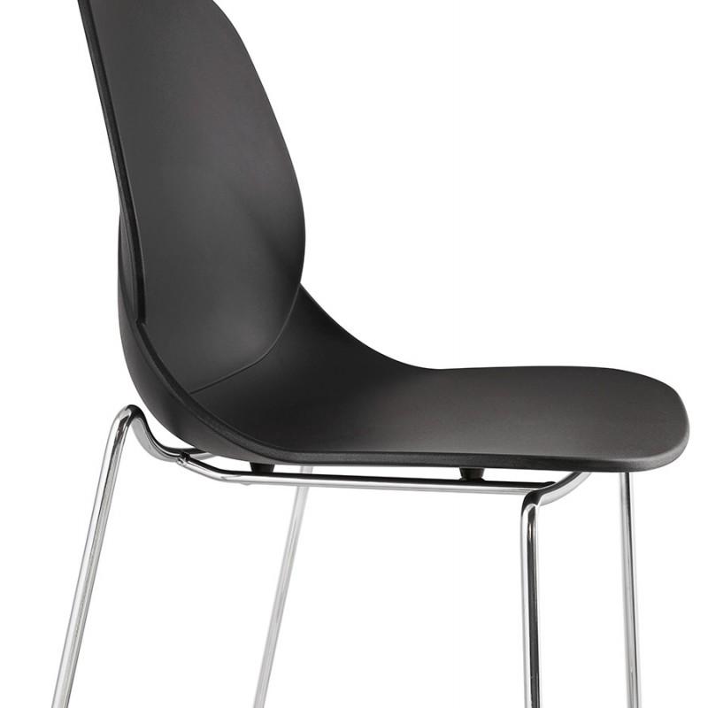 Tabouret de bar chaise de bar mi-hauteur design empilable JULIETTE MINI (noir) - image 46571