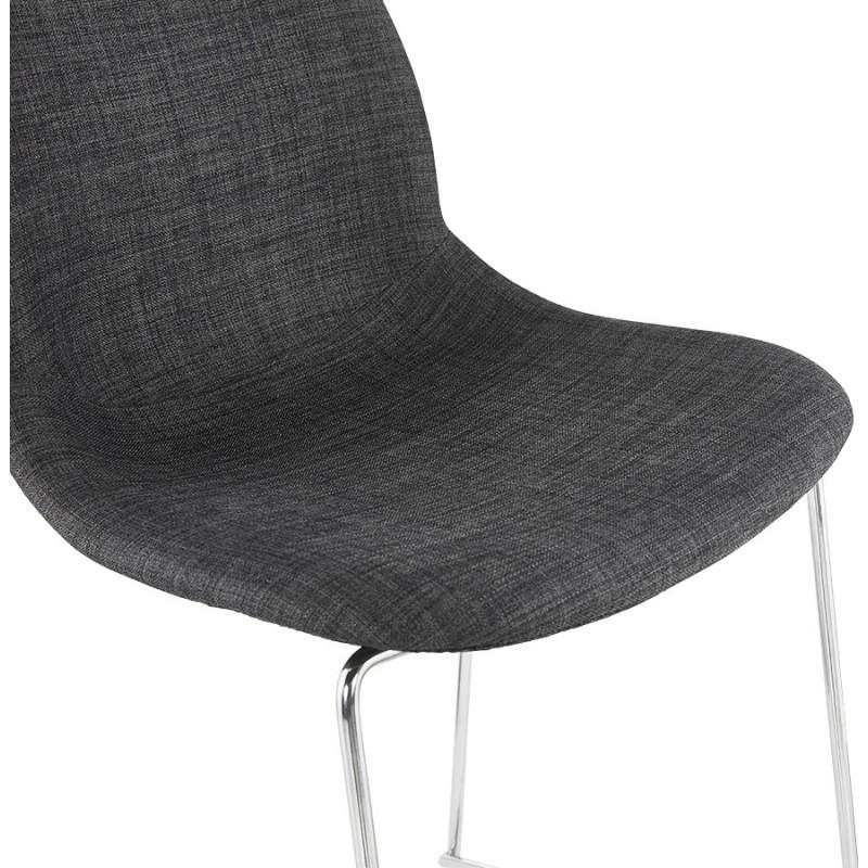 Tabouret de bar mi-hauteur scandinave empilable en tissu pieds métal chromé LOKUMA MINI (gris foncé) - image 46581