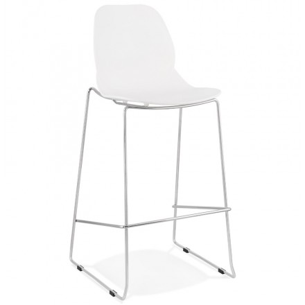 Tabouret de bar empilable design pieds métal chromé JULIETTE (blanc)