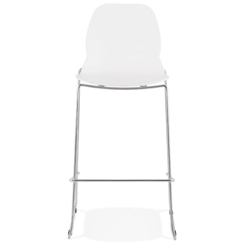 Tabouret de bar empilable design pieds métal chromé JULIETTE (blanc) - image 46590