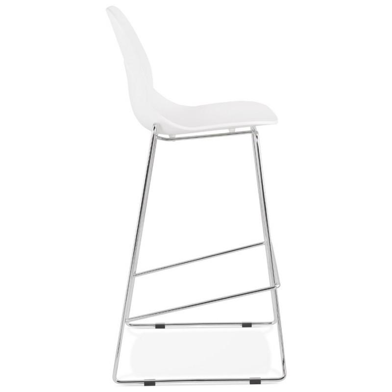 Tabouret de bar empilable design pieds métal chromé JULIETTE (blanc) - image 46591