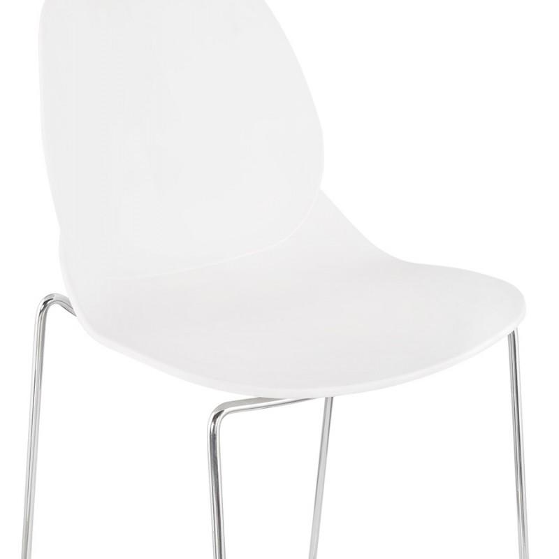 Tabouret de bar empilable design pieds métal chromé JULIETTE (blanc) - image 46594