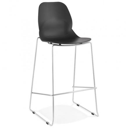 Taburete de bar apilable de diseño con patas de metal cromado JULIETTE (negro)