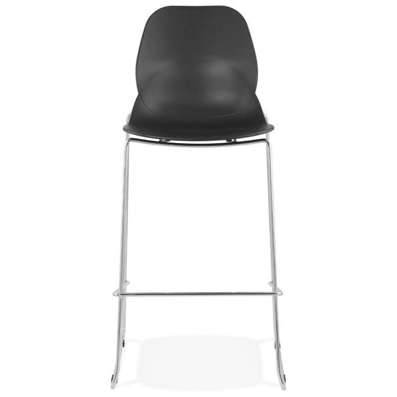 Design stackable bar stool with chromed metal legs JULIETTE (black) - image 46603