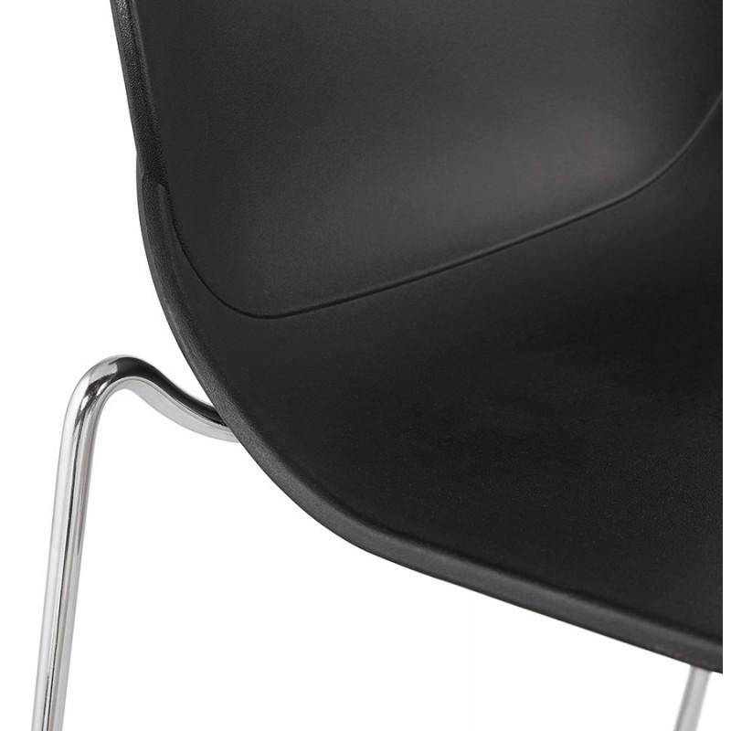 Design stackable bar stool with chromed metal legs JULIETTE (black) - image 46610