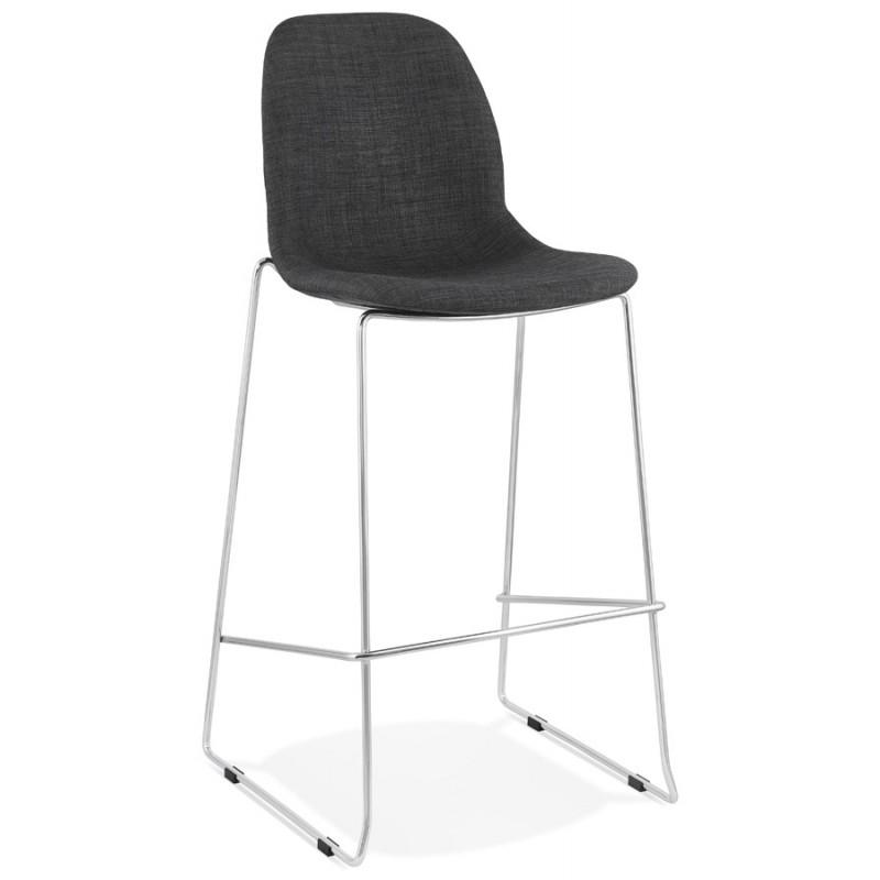 Tabouret de bar chaise de bar scandinave empilable en tissu pieds métal chromé LOKUMA (gris foncé) - image 46616