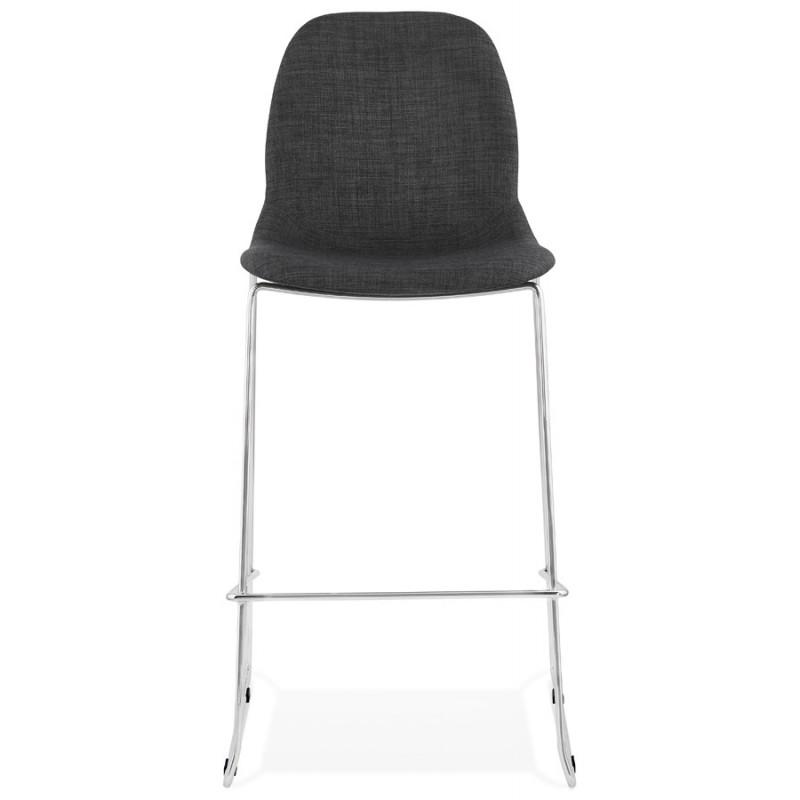 Tabouret de bar chaise de bar scandinave empilable en tissu pieds métal chromé LOKUMA (gris foncé) - image 46617