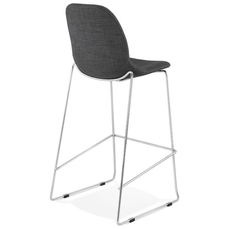 Tabouret de bar chaise de bar scandinave empilable en tissu pieds métal chromé LOKUMA (gris foncé) - image 46619