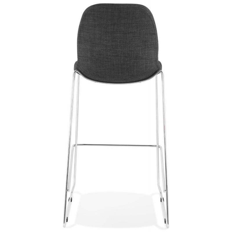 Tabouret de bar chaise de bar scandinave empilable en tissu pieds métal chromé LOKUMA (gris foncé) - image 46620