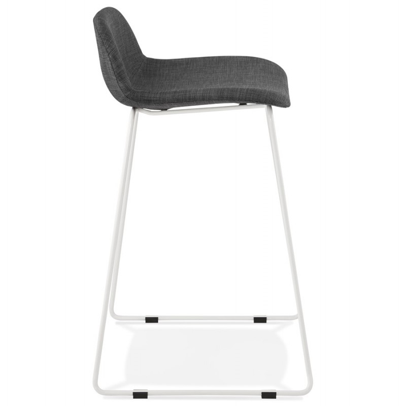 Small-height bar stool in white metal foot fabric CUTIE MINI (anthracite grey) - image 46841