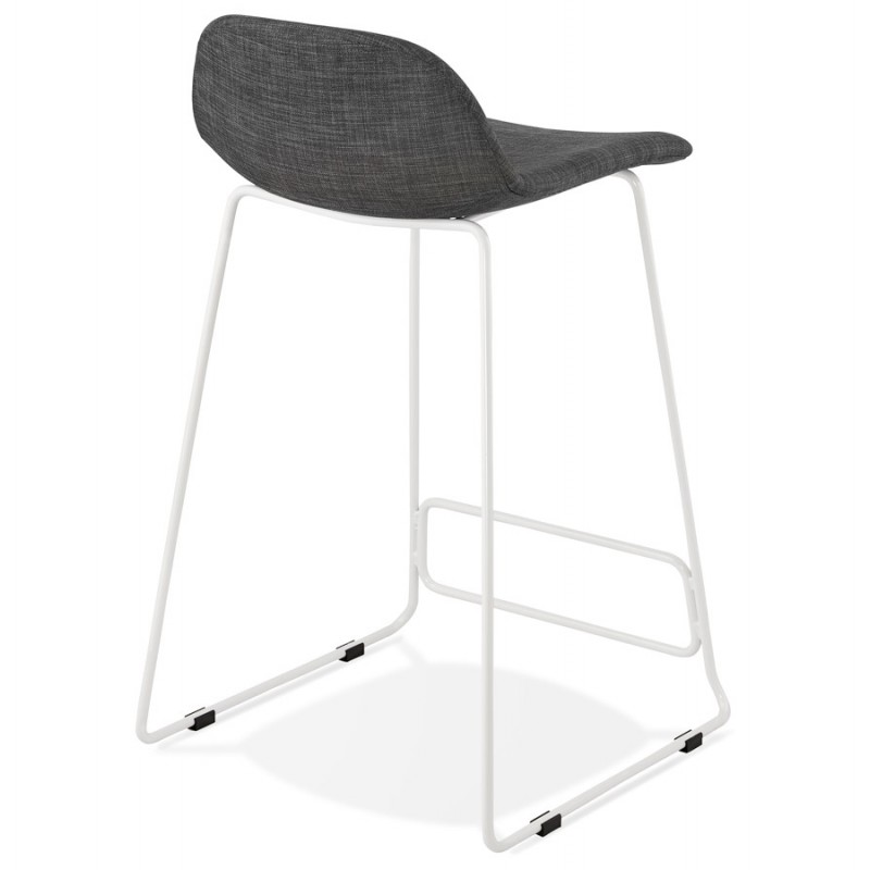 Small-height bar stool in white metal foot fabric CUTIE MINI (anthracite grey) - image 46842