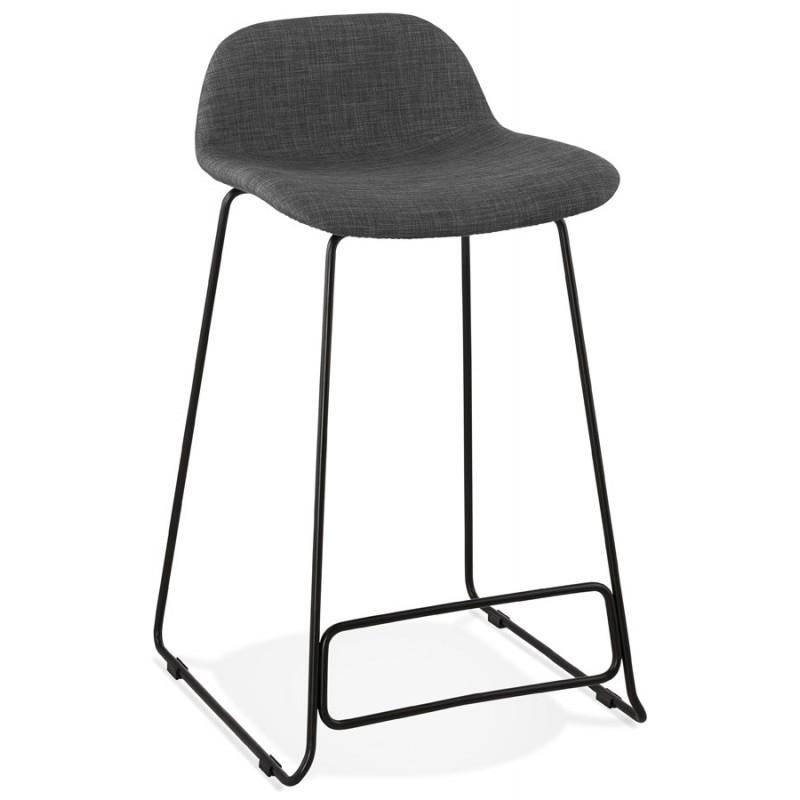 Industrial mid-height bar bar stool in black metal foot fabric CUTIE MINI (anthracite grey)