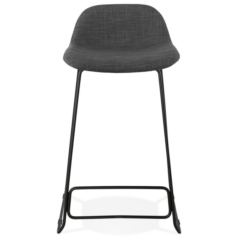 Industrial mid-height bar bar stool in black metal foot fabric CUTIE MINI (anthracite grey) - image 46864